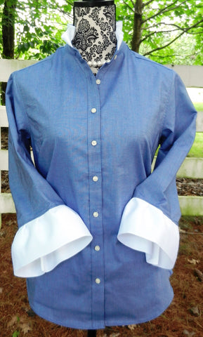 Oxford Navy Blue Shirt with White Ribbon (ORN-White)
