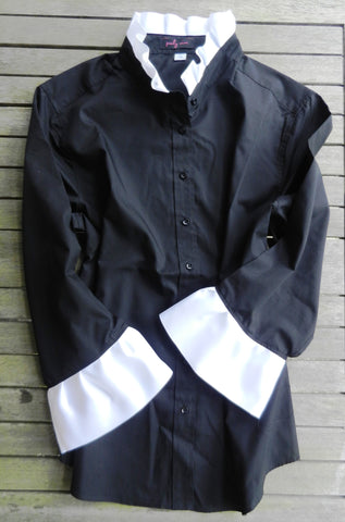 Ribbon Trimmed Black Shirt with White