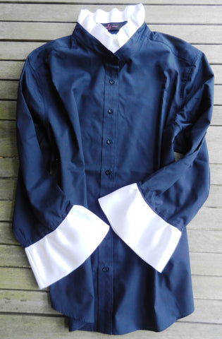 Ribbon Trimmed Navy Shirt with White