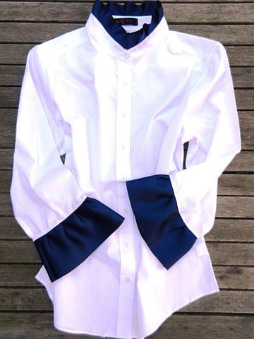 Ribbon Trim Shirt with Navy