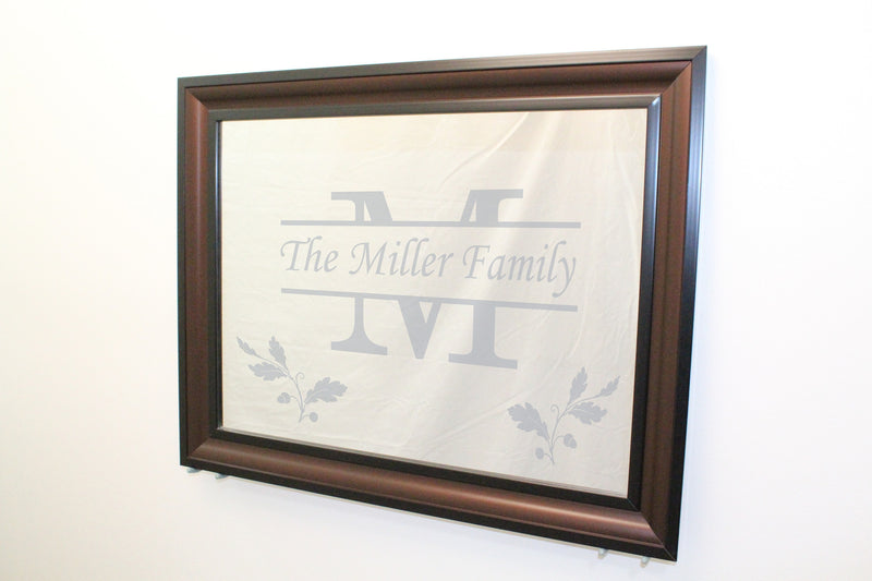 "Java Frame - Black Edges, Brown Inner - Wall Mirror 29"" x 23"" - Personalized Mirror - Family Crest Mirrors"