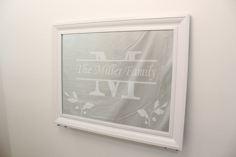 "Polar - Clean White Ridged Frame - Wall Mirror 29"" x 23"" - Item #125 - Personalized Mirror - Family Crest Mirrors"