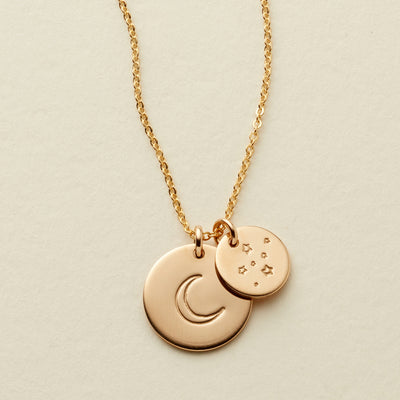 "Moon and Stars Disc Necklace - 1/2"" & 3/8"""