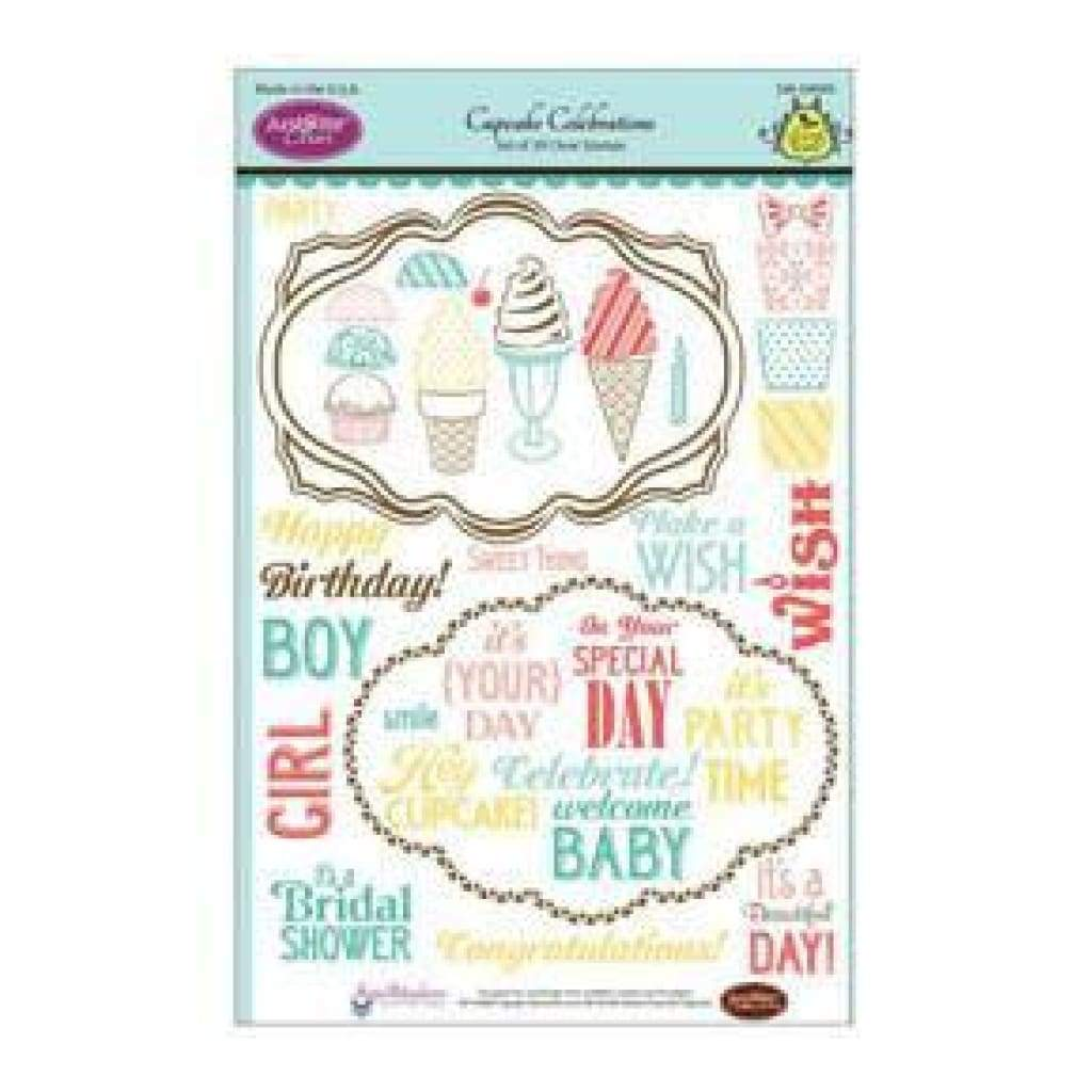 Justrite Papercraft Clear Stamp Set 6X8 - Cupcake Celebrations 39 Piece