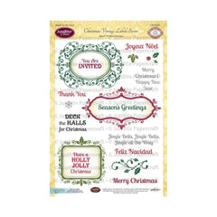 "JustRite Papercraft Clear Stamps 6""X8"" Christmas Vintage Labels Seven"