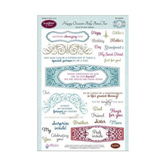 "JustRite Papercraft Clear Stamps 6""X8"" Happy Occasion Belly Bands"