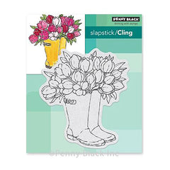 Penny Black - Cling Stamps Blooming Boots 4 inch X4.4 inch