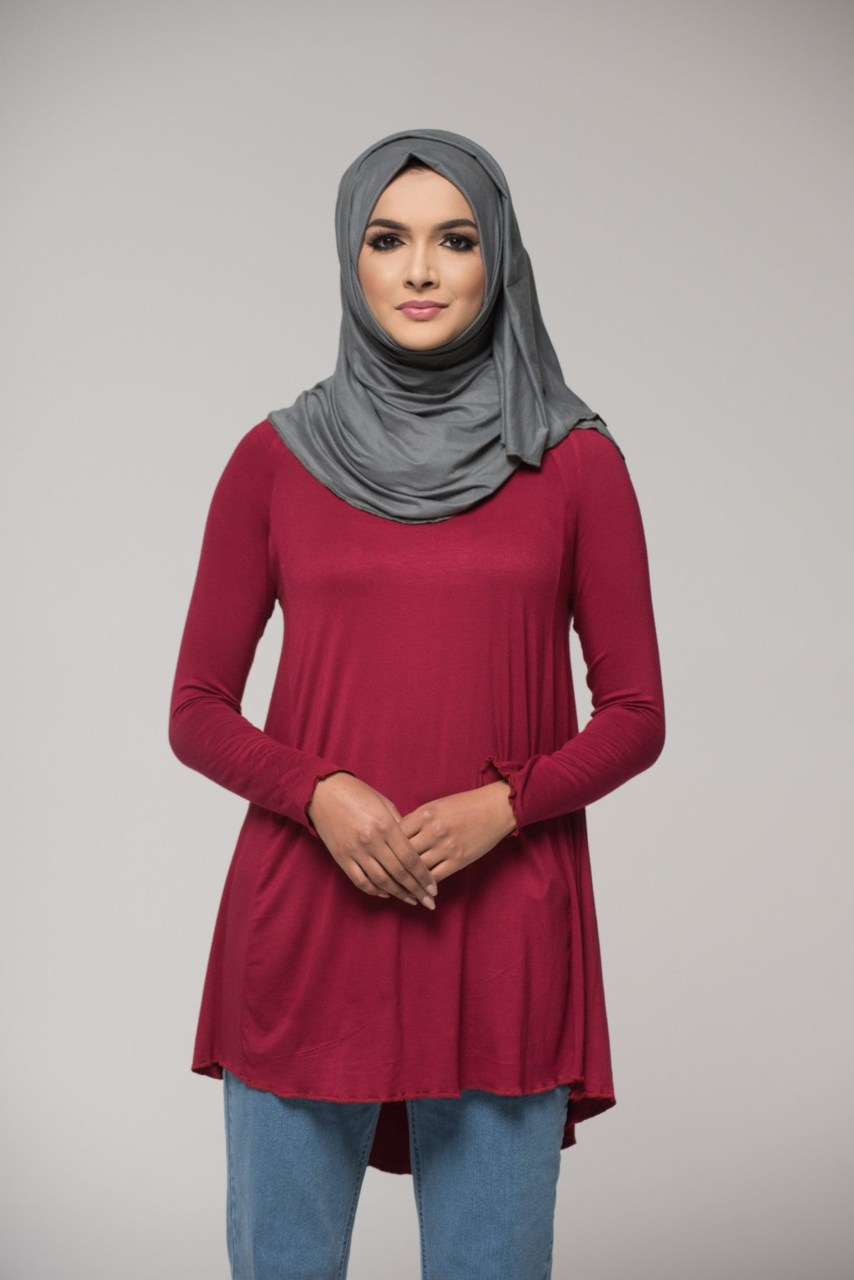 Maroon Cotton Blend Top