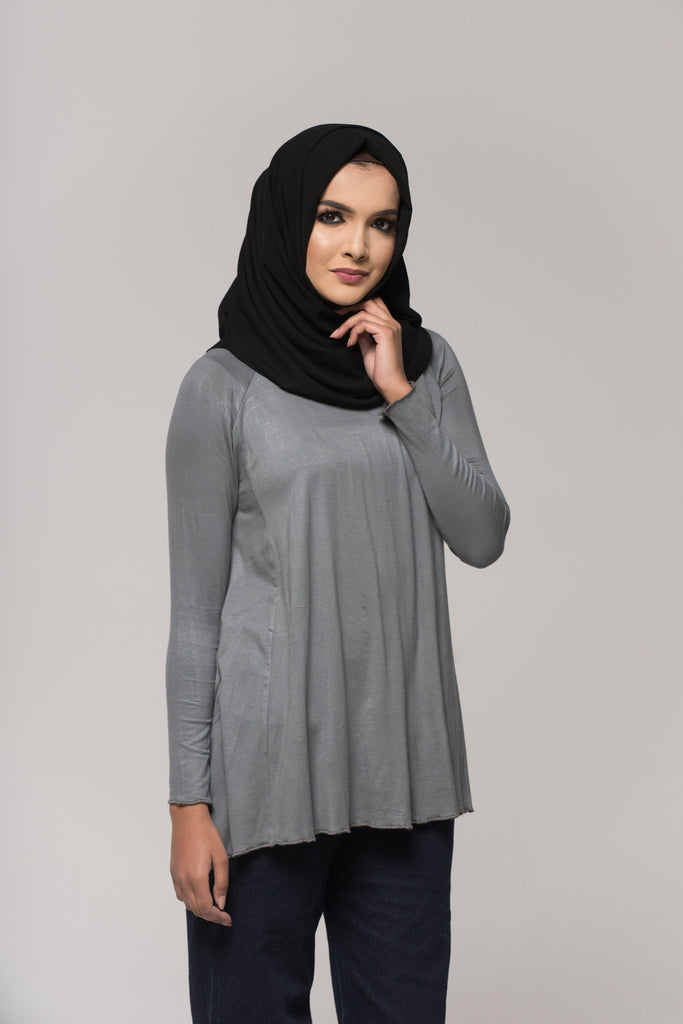 Grey Cotton Blend Top