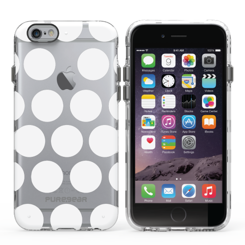 PureGear Apple iPhone 6 Plus / 6s Plus Slim Shell Case - Pattern Print Clear White Dot