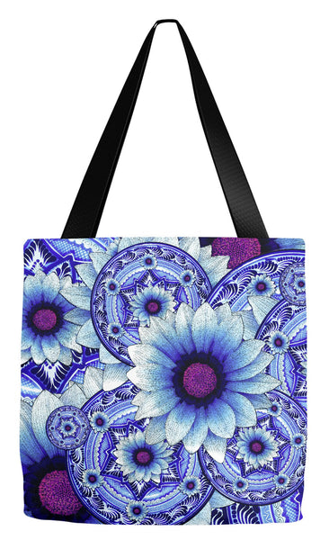 Blue and Purple Floral Art Tote Bag - Talavera Alejandra - Tote Bag - Fusion Idol Arts - New Mexico Artist Christopher Beikmann