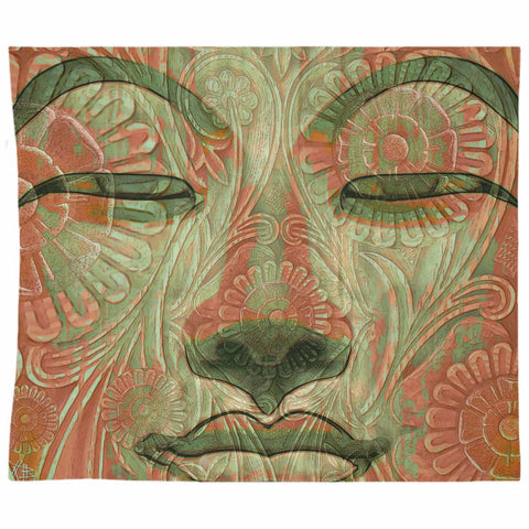 Green and Orange Buddha Face Tapesty - Manifestation of Mind - Tapestry - Fusion Idol Arts - New Mexico Artist Christopher Beikmann