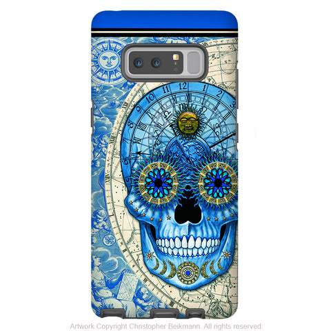 Astrology Sugar Skull Galaxy Note 8 Case - Astrologiskull - Blue Steampunk Sugar Skull Note 8 Tough Case - Galaxy Note 8 Tough Case - Fusion Idol Arts - New Mexico Artist Christopher Beikmann