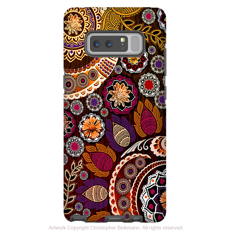 Autumn Mehndi Galaxy Note 8 Tough Case - Dual Layer Protection - Fall Paisley Case for Samsung Galaxy Note 8 - Galaxy Note 8 Tough Case - Fusion Idol Arts - New Mexico Artist Christopher Beikmann