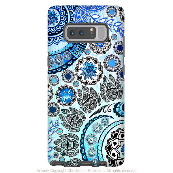 Blue Mehndi Galaxy Note 8 Tough Case - Dual Layer Protection - Blue Paisley Case for Samsung Galaxy Note 8 - Galaxy Note 8 Tough Case - Fusion Idol Arts - New Mexico Artist Christopher Beikmann