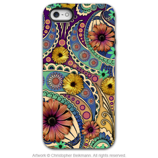 Colorful Paisley Daisy Art - Artistic iPhone 5 SE Tough Case - Dual Layer Protection - Petals and Paisley - iPhone 5 5s TOUGH Case - Fusion Idol Arts - New Mexico Artist Christopher Beikmann