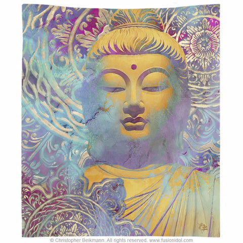 Colorful Zen Buddha Art Wall Tapestry - Light of Truth - Tapestry - Fusion Idol Arts - New Mexico Artist Christopher Beikmann