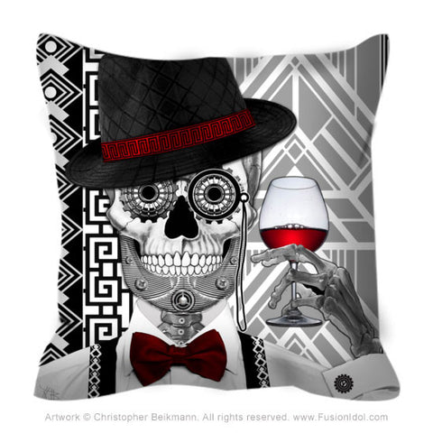 1920's Sugar Skull Throw Pillow - Mr JD Vanderbone - Throw Pillow - Fusion Idol Arts - New Mexico Artist Christopher Beikmann
