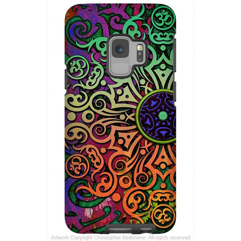 Tribal Mandala - Galaxy S9 / S9 Plus / Note 9 Tough Case - Dual Layer Protection for Samsung S9 - Colorful Om Case - Galaxy S9 / S9+ / Note 9 - Fusion Idol Arts - New Mexico Artist Christopher Beikmann