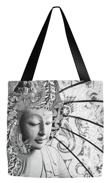 Black and White Zen Buddha Tote Bag - Bliss of Being - Tote Bag - Fusion Idol Arts - New Mexico Artist Christopher Beikmann