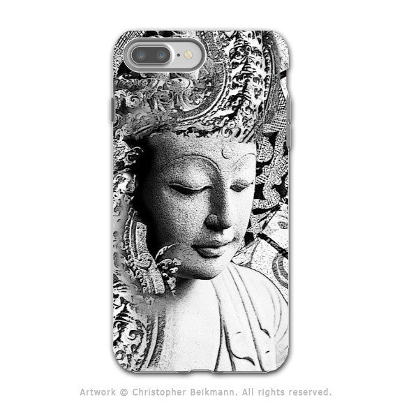 Black and White Buddha - Artistic iPhone 7 PLUS - 7s PLUS Tough Case - Dual Layer Protection - Bliss of Being - iPhone 7 Plus Tough Case - Fusion Idol Arts - New Mexico Artist Christopher Beikmann