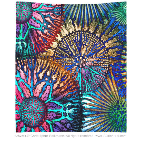 Cosmic Star Coral Abstract Art Tapestry - Tapestry - Fusion Idol Arts - New Mexico Artist Christopher Beikmann