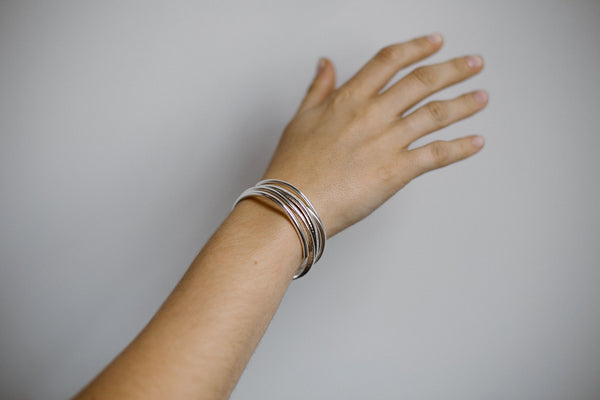 Nicole, 14kt Gold Filled or Sterling Silver Flat Textured Cuff Bracelet