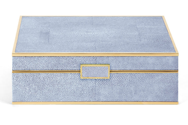 AERIN Blue Shagreen Jewelry Box, Large