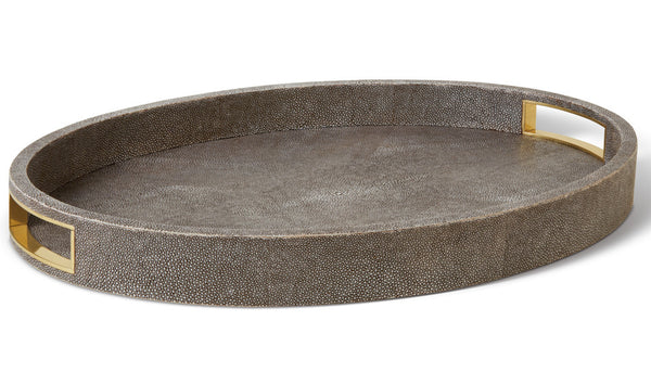 AERIN Modern Chocolate Shagreen Cocktail Tray