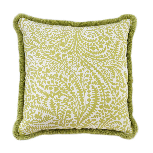 Spring Green and White Fern Pillow