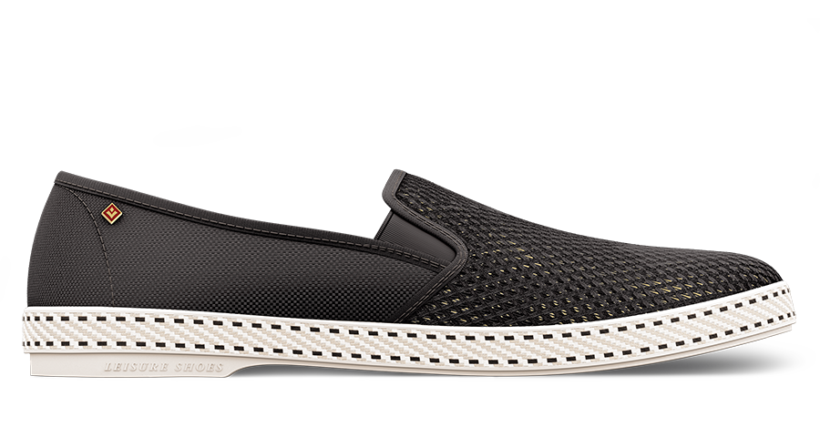 Men's Canvas & Mesh Slip On, Noir