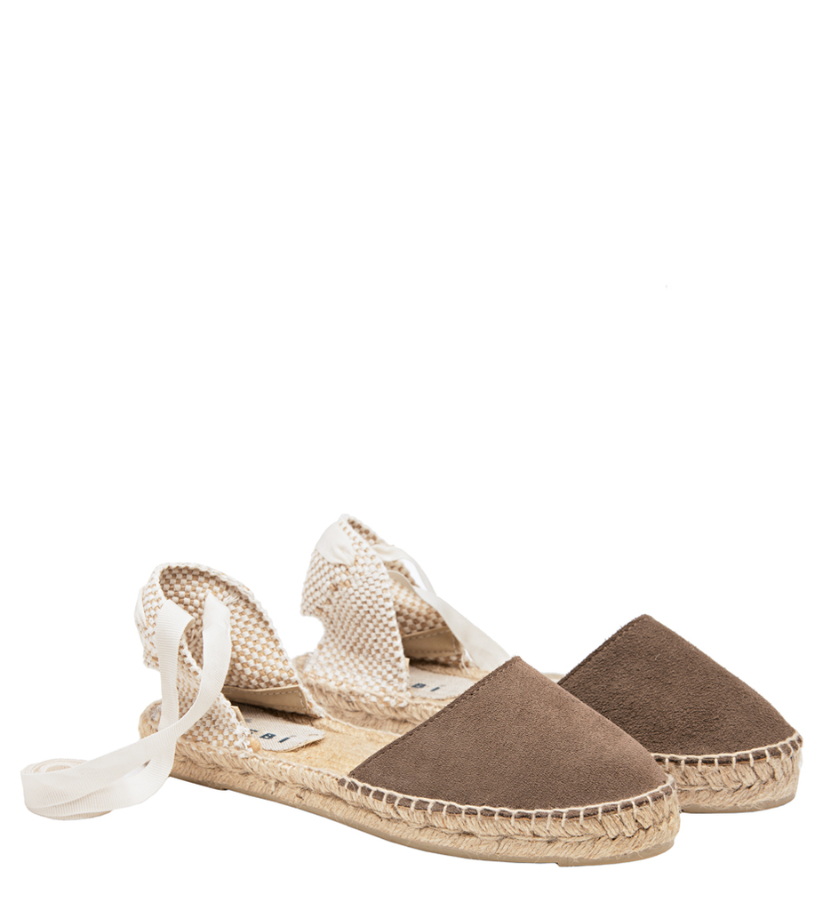 Manebi Flat Tie-Up Sandal, Coco Brown Suede