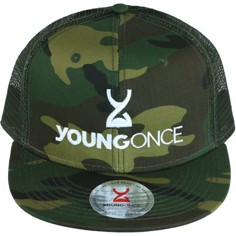 Young Once Embroidered Snapback Hat Camo front view