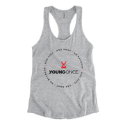 Ladies Young Once Circle Hourglass Racerback Tank Top Heather Gray