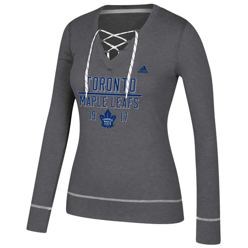 Maple Leafs Adidas Ladies Skate Lace Bar Down Hoody