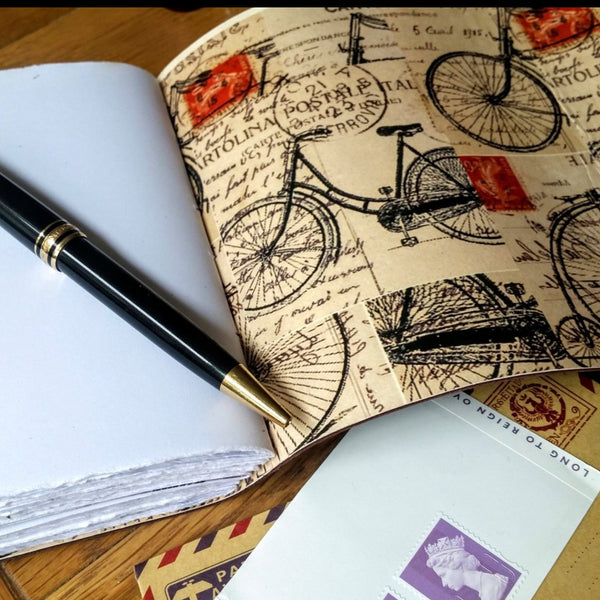 Vintage Steampunk Cycle images lining leather cycling notebook journal