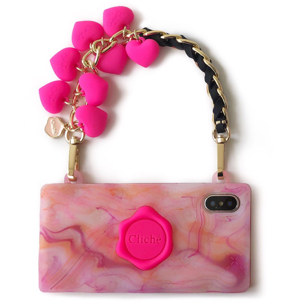 iPhone X/XS Rosy Marble Seal Stamped Case (Pink Hearts Strap)