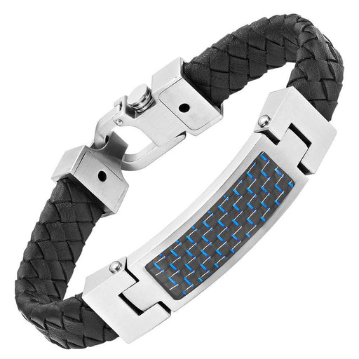 Willis Judd Black Leather Bracelet with Stainless Steel and Blue Carbon Fiber Engraved I Love You with Gift Box