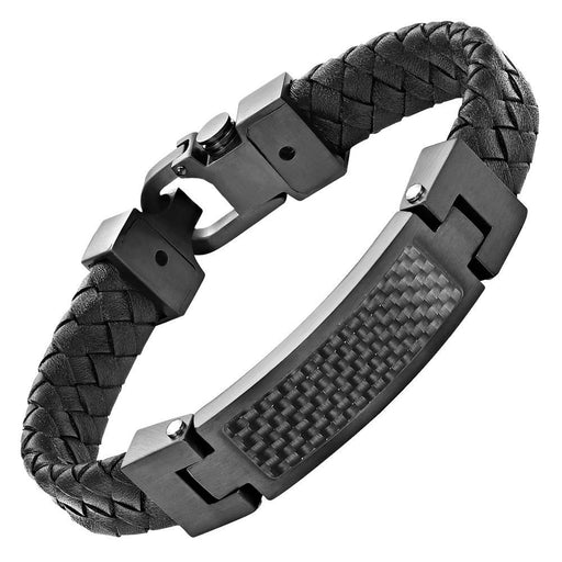 Willis Judd Black Leather Bracelet with Stainless Steel and Black Carbon Fiber with Gift Box