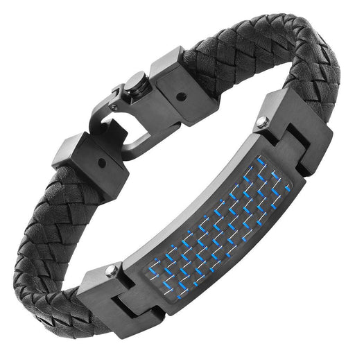 Willis Judd Leather Bracelet with Stainless Steel and Blue Carbon Fiber with Gift Box