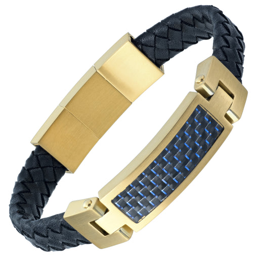Leather Bracelet with Blue Carbon Fibre engraved Love You Dad