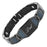 Mens Black Titanium 3000 Gauss Magnetic Therapy Bracelet Featuring Blue Carbon Fiber Engraved With Dad, Love You Dad