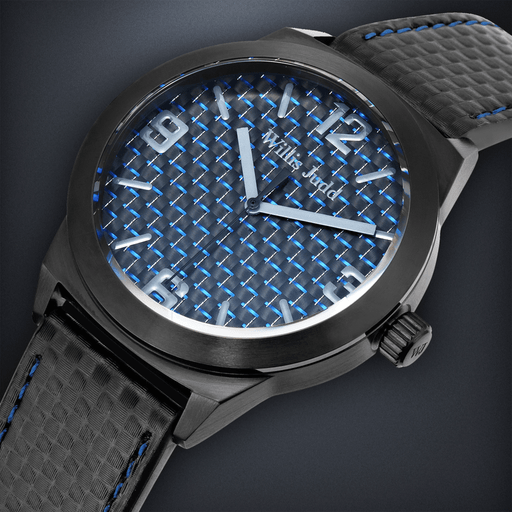 Black PVD with Blue Carbon Fiber