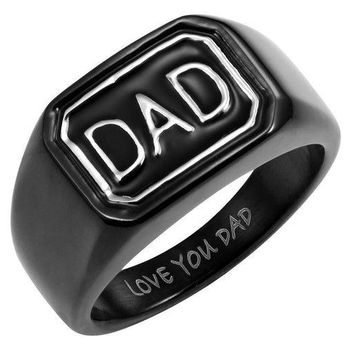 Mens Black Stainless Steel DAD Ring Engraved Love You Dad