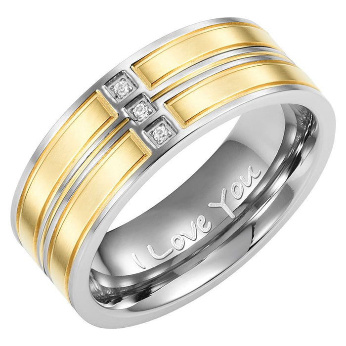 Mens Band Ring Crafted in Two Tone Titanium With White CZ Engraved I Love You