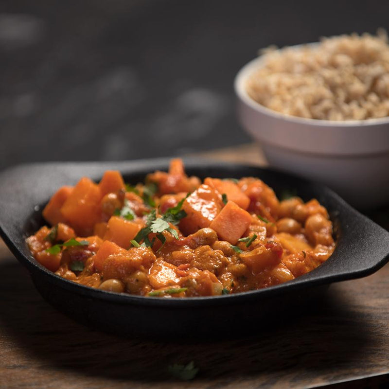 Gourmet frozen ready meals delivered direct. Butternut Squash and Chickpea Curry from Thyme. Made with Vegan friendly ingredients