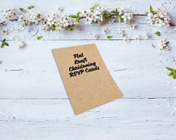 Flat Kraft Christening RSVP Cards