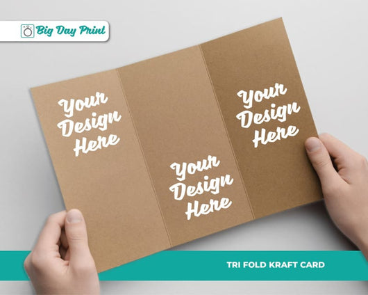 Tri Fold Kraft Wedding Advice Cards - DL / No Lamination