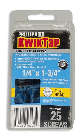 "1/4"" x 1-3/4"" PFH 25pk Concrete Screws"