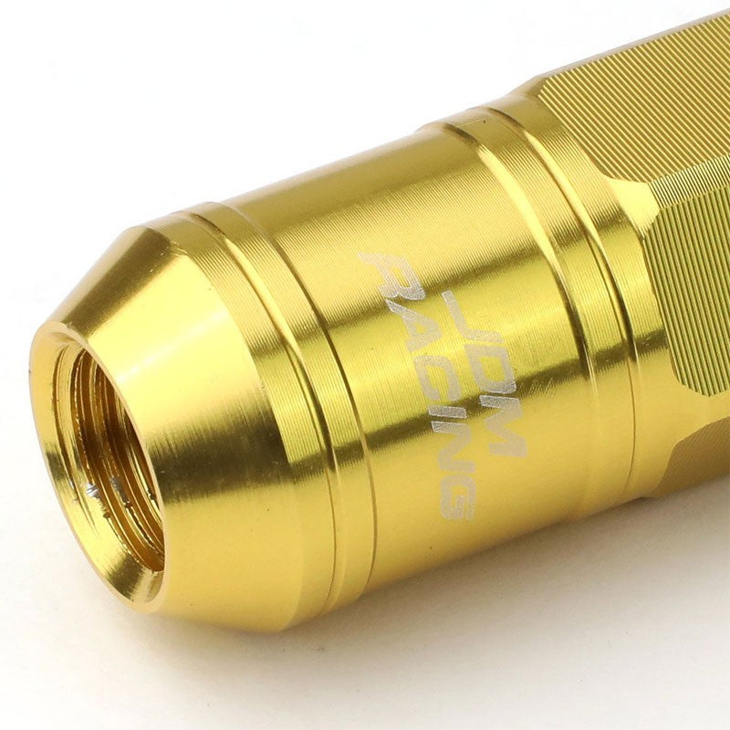 Gold Aluminum M12x1.5 Conical Open Knurl Acorn Tuner 16x Lug Nuts+4 Lock Nuts-Accessories-BuildFastCar
